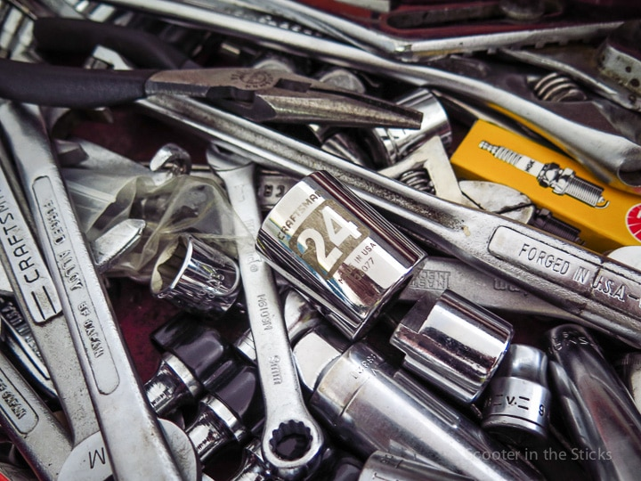 Assortment of wrenches and tools