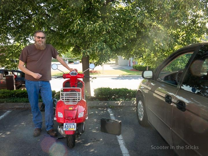 Gordon Harkins with his Vespa GTS 300