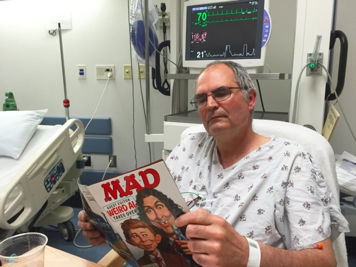 Steve Williams in the ICU at Mount Nittany Medical Center