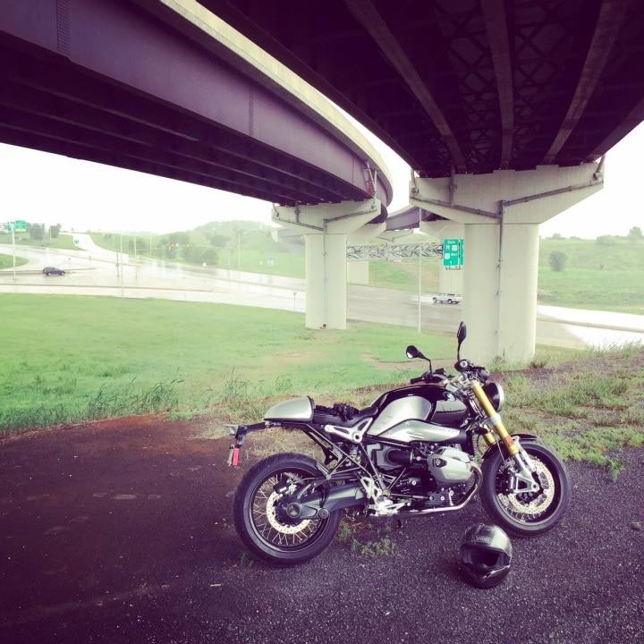 BMW R nineT in rain