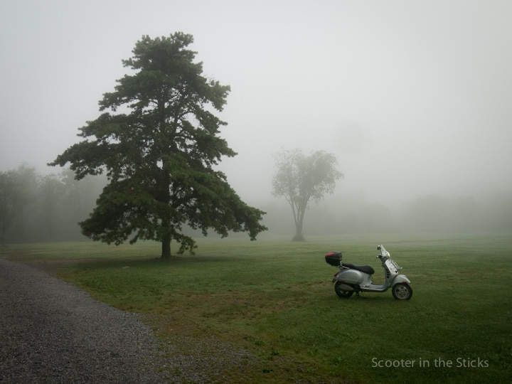Vespa GTS scooter and morning fog