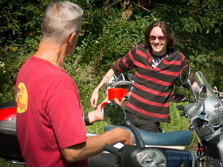 Steve Albrecht with Vespa scooter