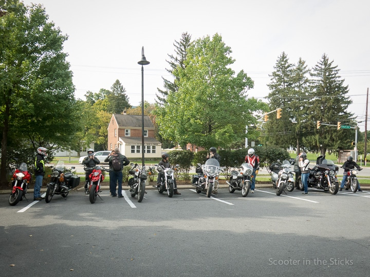 Motorcycles lined up at the Pump Station Cafe in Boalsburg, Pennsylvania