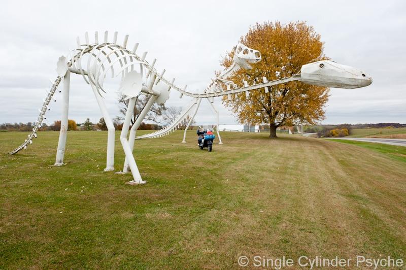 Dinosaur sculptures in Iowa