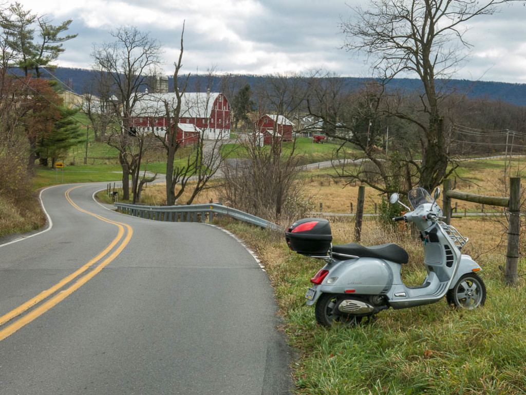 Vespa GTS scooter near Meyer farm.