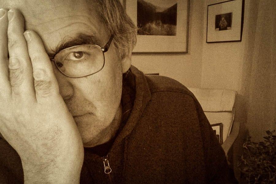 Self portrait of Steve Williams, Vespa rider and victim of habits of frustration