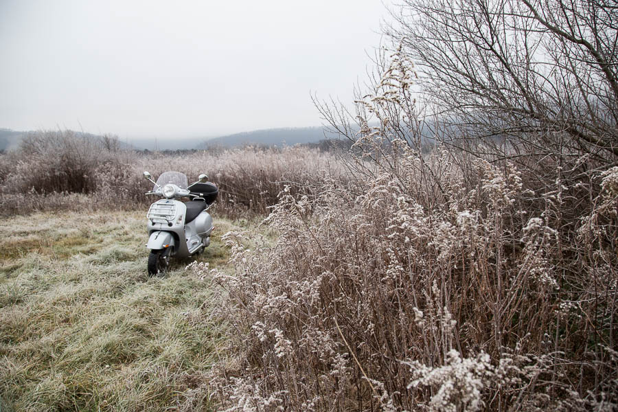 Vespa GTS scooter in a frost covered field