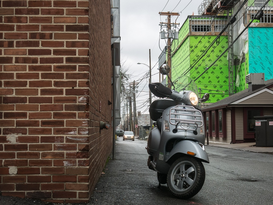 Vespa GTS scooter on Calder Alley in State College, Pennsylvania