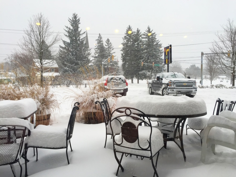View of snow from Pump Station Cafe window