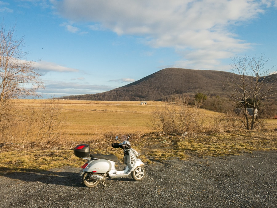 Vespa GTS scooter and Mt. Nittany in Pennsylvania