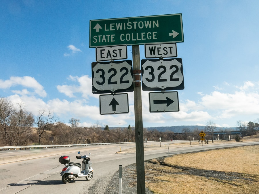 Vespa GTS and US322 road signs