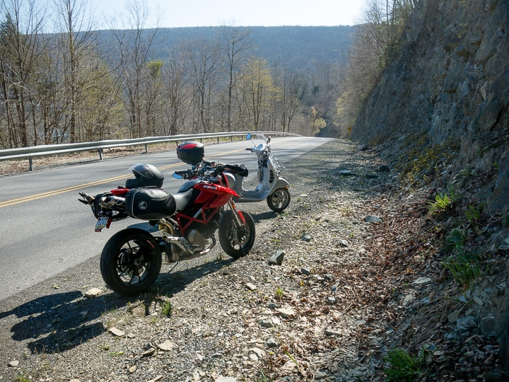Ducati and Vespa along RT 103 in Pennsylvania