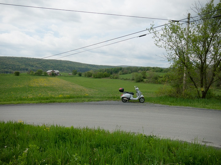 Vespa GTS scooter near Woodward, Pennsylvania