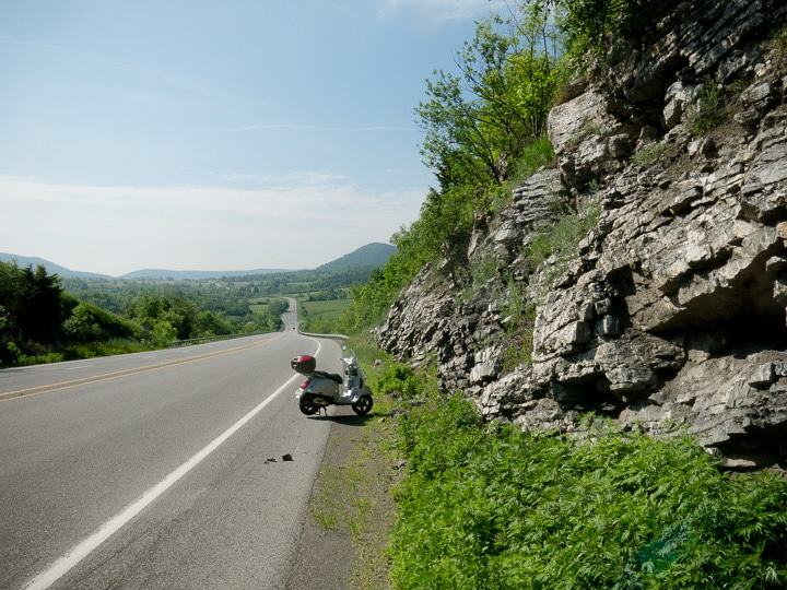 Vespa along a highway
