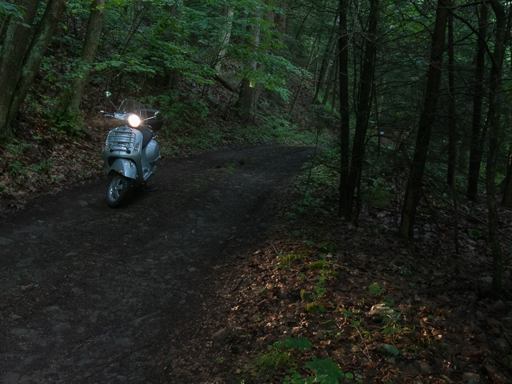 Vespa GTS scooter along a narrow forest trail