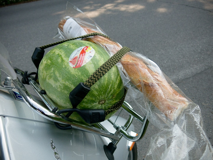 watermelon and baguette on Vespa scooter