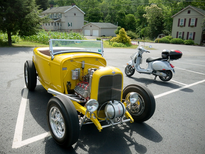 Vespa GTS scooter with a 1932 Ford hot rod