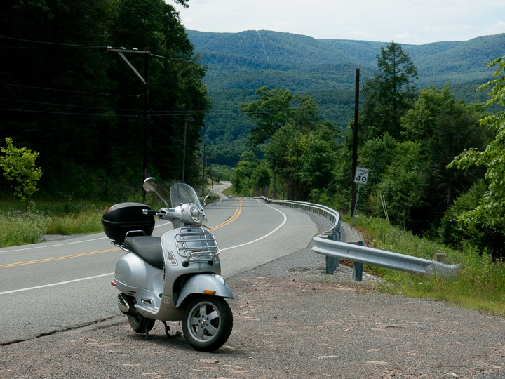 Vespa GTS scooter and the Allegheny Plateau