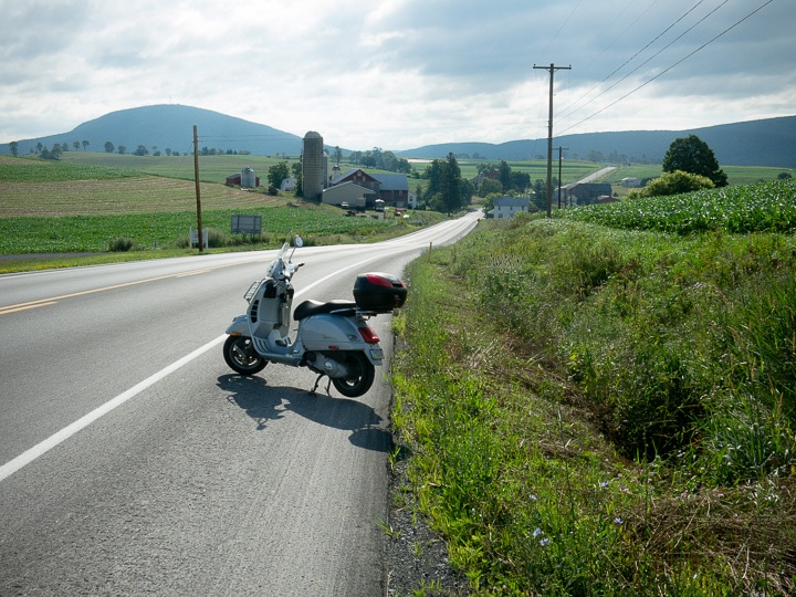 Vespa GTS scooter on the open road