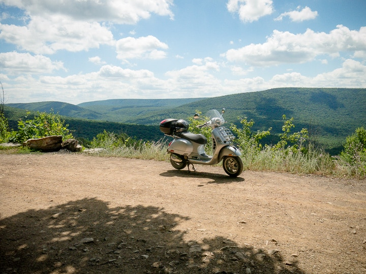 Vespa GTS scooter at overlook on Thickhead Mountain