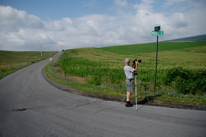 Paul Ruby, photographer, working near Madisonburg, Pennsylvania