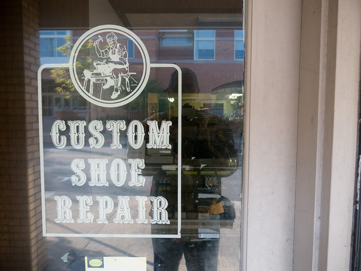 Door sign of Custom Shoe Repair store in State College, Pennsylvania