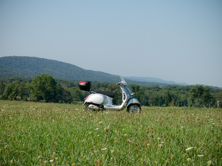 Vespa GTS scooter near Shingletown, Pennsylvania