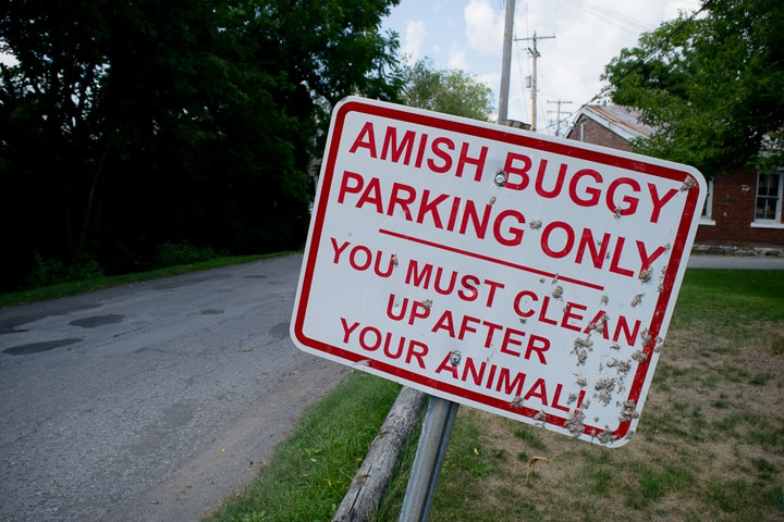 Amish buggy parking sign in Millheim, Pennsylvania