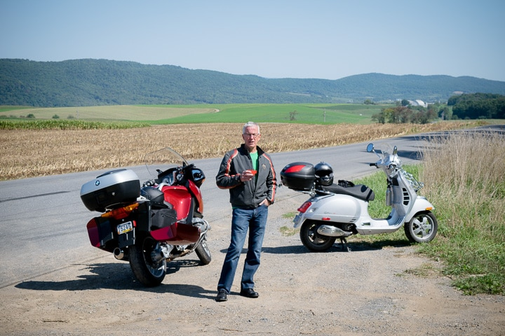 Paul Ruby with his new BMW R1200 RT motorcycle