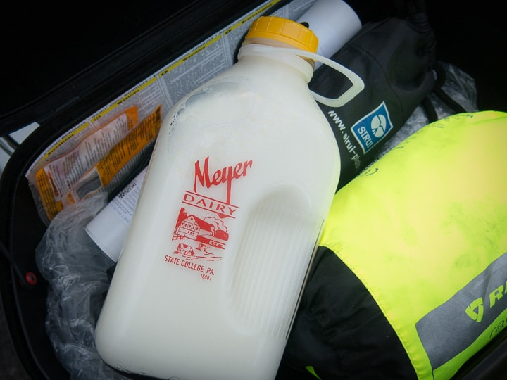 Meyer Dairy milk bottle in a GIVI topcase