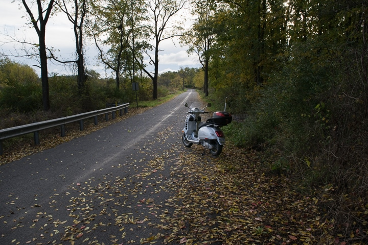 Vespa GTS scooter on country road