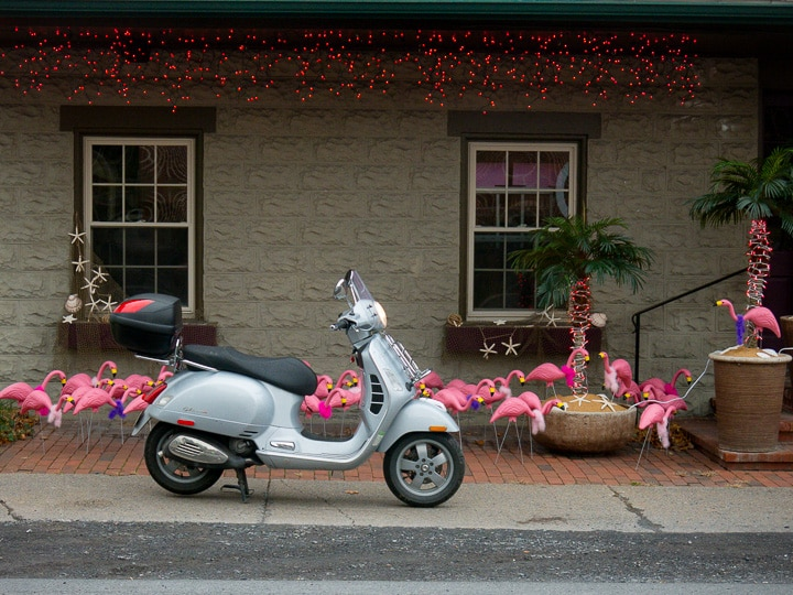 Vespa GTS scooter in front of a festive display of holiday decorations