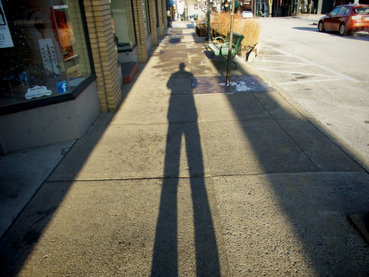 Steve Williams shadow on sidewalk