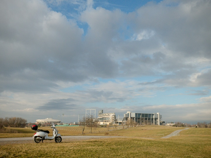 Vespa GTS scooter near Penn State's Beaver Stadium