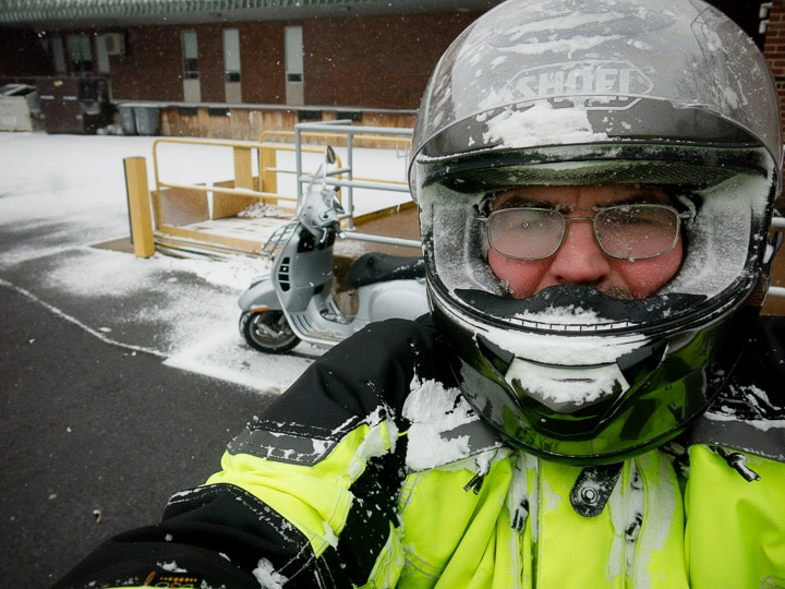 Steve Williams after a snow squall with his Vespa scooter
