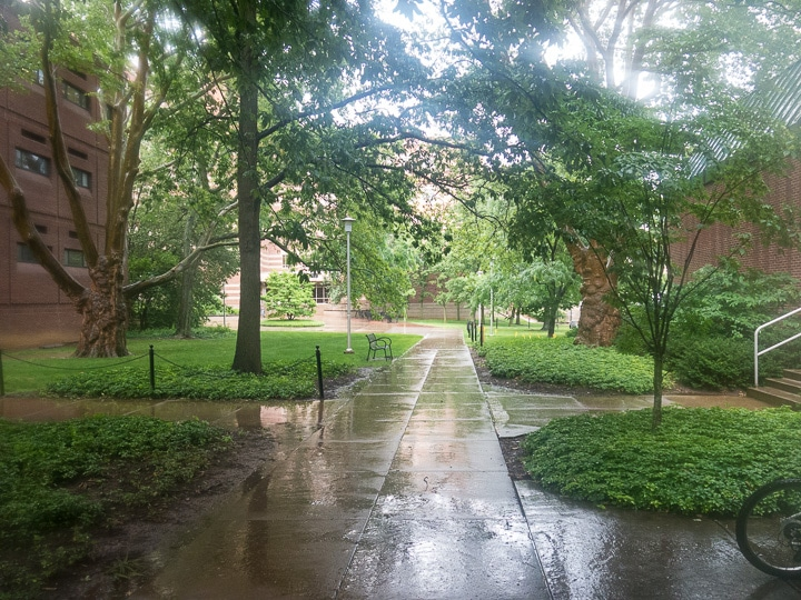 Rain falling on Ag Hill at Penn State