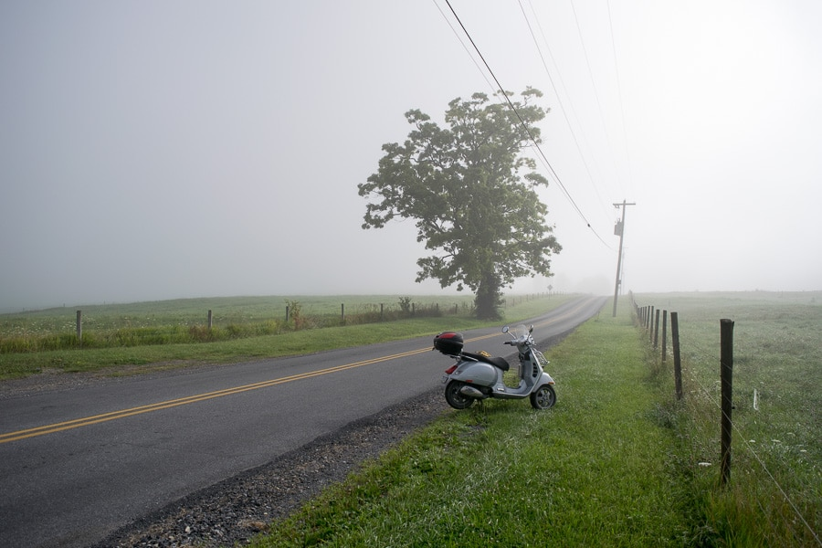 Morning ride on my GTS scooter on a foggy rural road