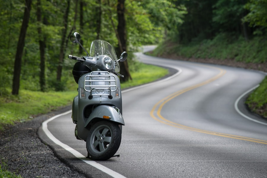 Morning Vespa ride through the winding roads on Bald Eagle Ridge