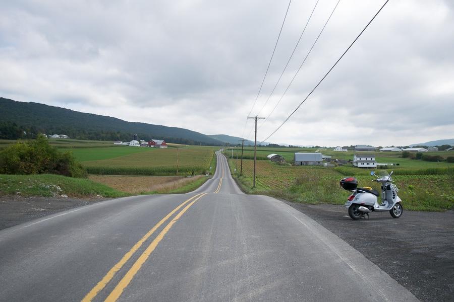 Vespa GTS scooter in Sugar Valley on long vespa ride