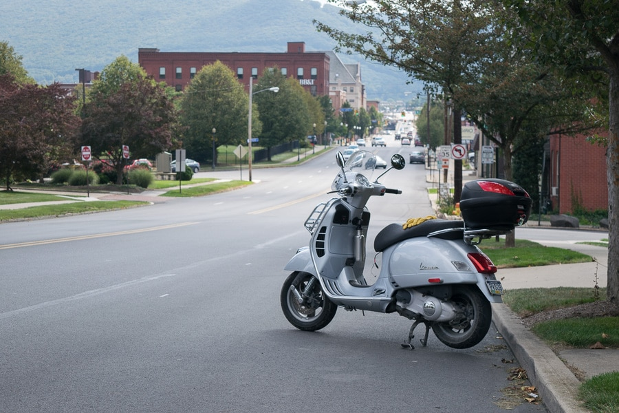 Vespa GTS scooter on street in Williamsport, Pennsylvania