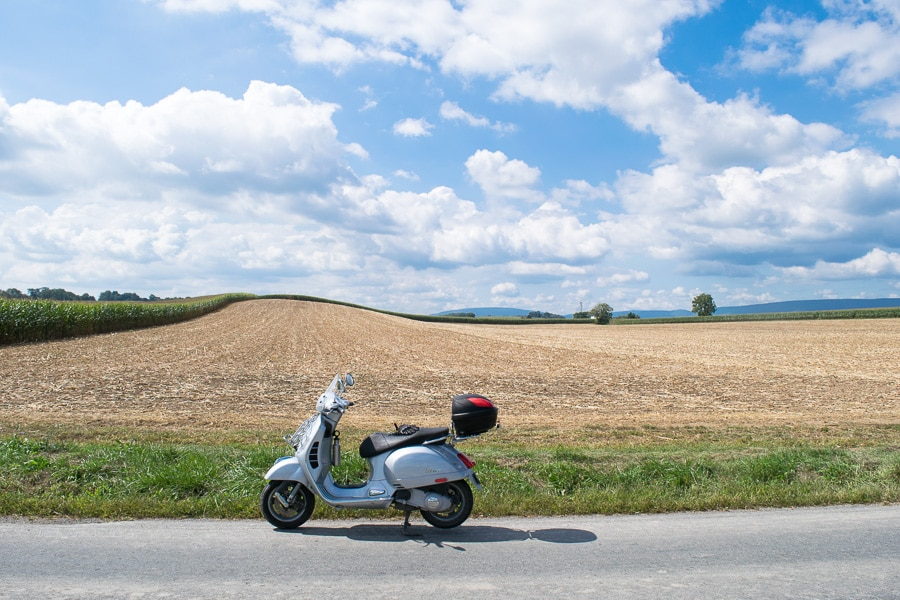 Vespa GTS scooter near Mifflinburg