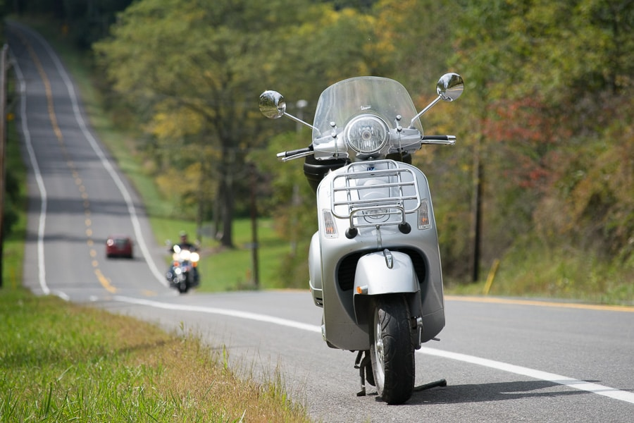 Vespa GTS along road near Laurelton, Pennsylvania