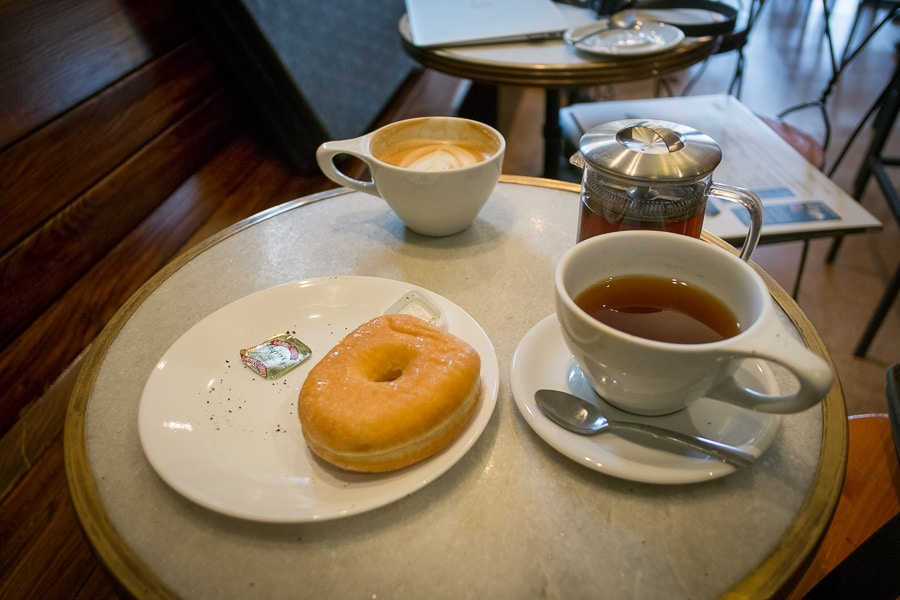 Donut and tea at Saint's Cafe