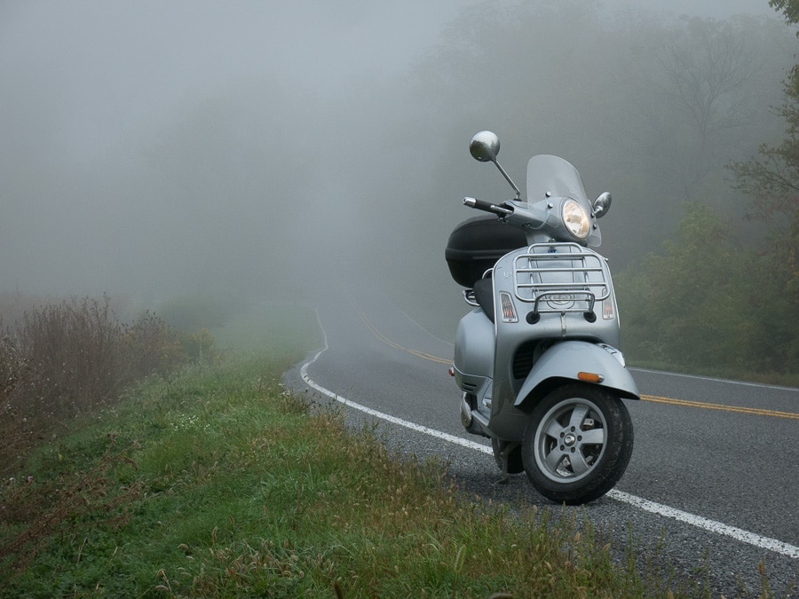 Vespa GTS in the fog