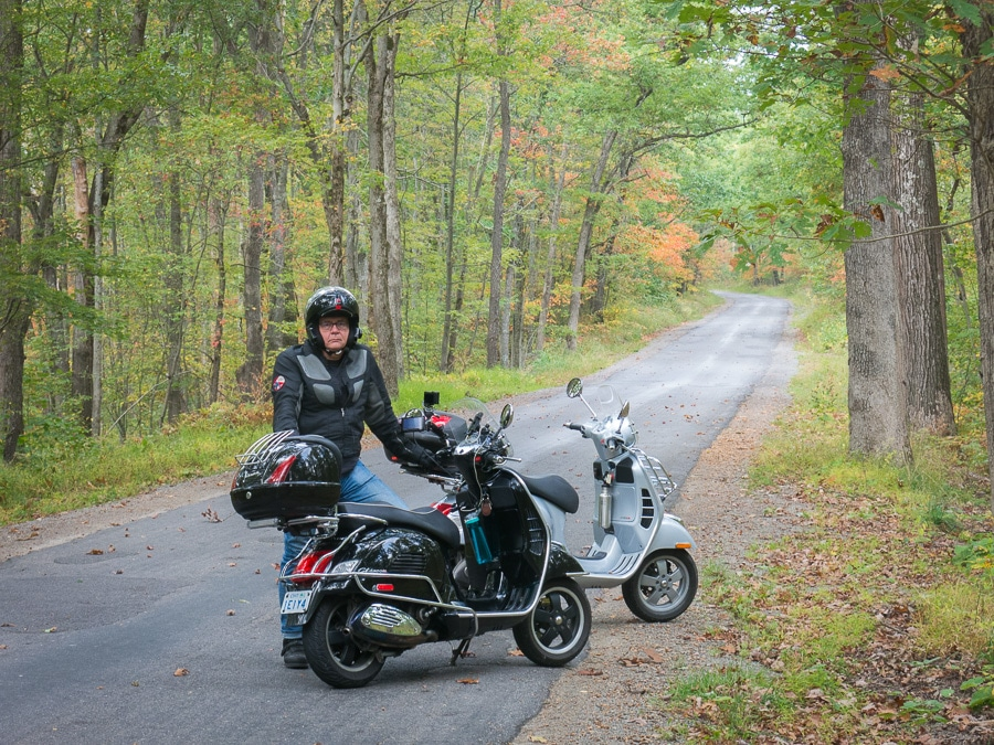 Vespa scooters and David Masse in Moshannon State Forest