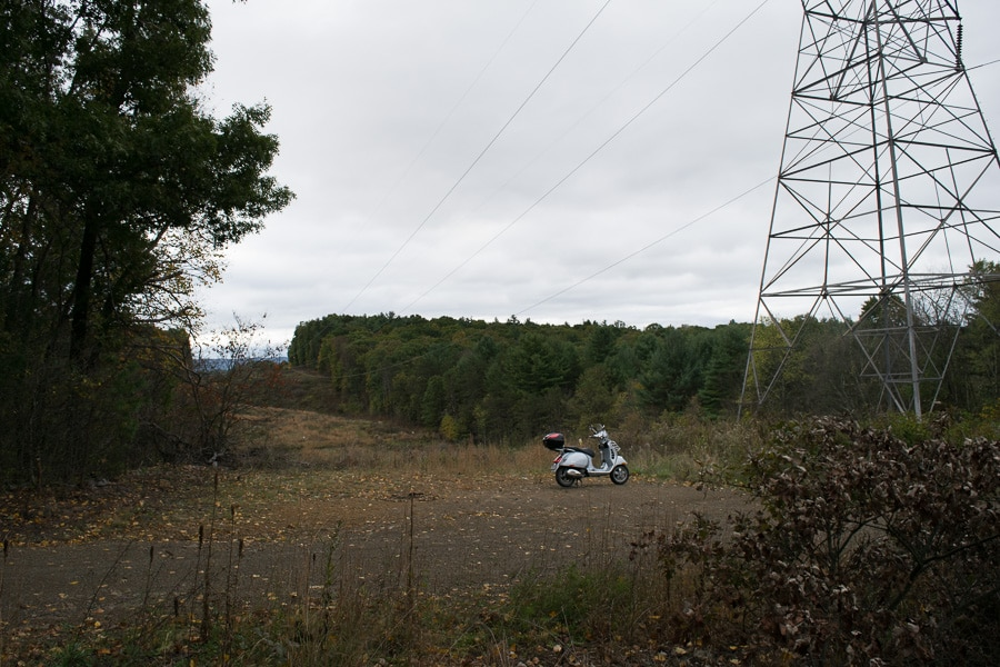 Vespa GTS on gravel road