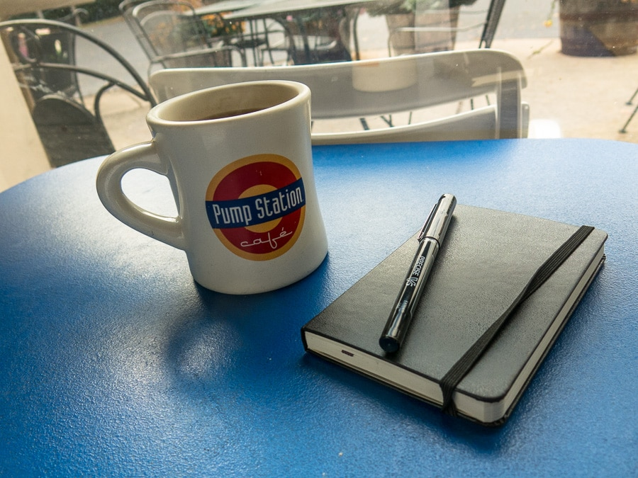 Tea and journal at the Pump Station Cafe in Boalsburg, Pennsylvania