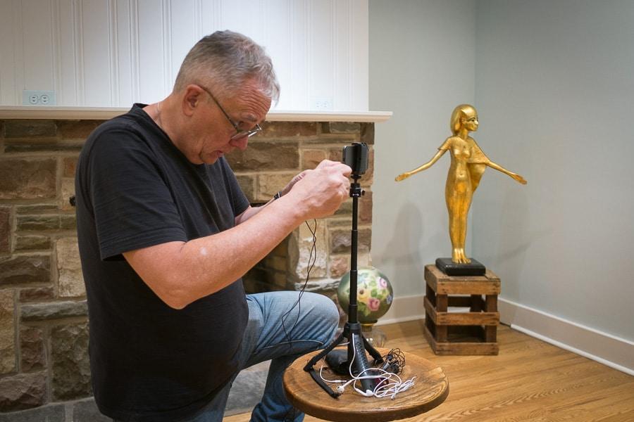 David Masse setting up video interview