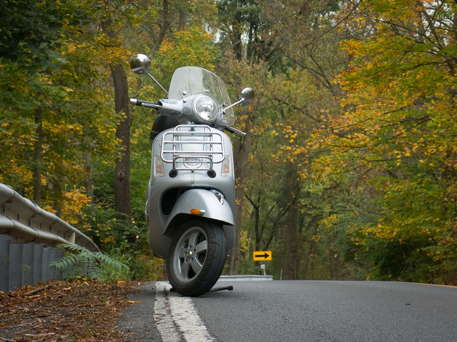 Vespa GTS scooter in autumn