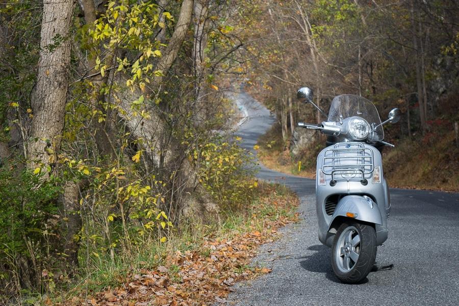 Vespa GTS scooter on Eden Road
